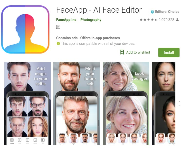 faceapp interface
